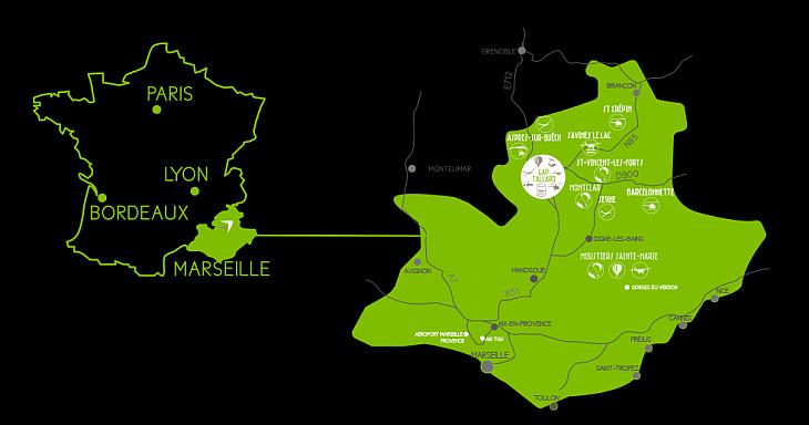 Расположение аэродрома Гап-Таллар