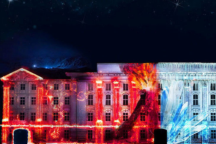Шоу Mount Magic разворачивается на фасаде дворца в Инсбруке