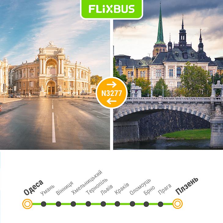 автобусный перевозчик Flixbus - карта маршрута