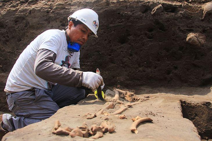 Раскопки на месте жертвоприношения в Перу