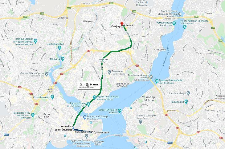 карта проезда к Istanbul Saphire