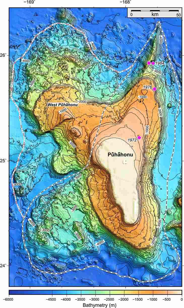 Карта вулкана Пухахону