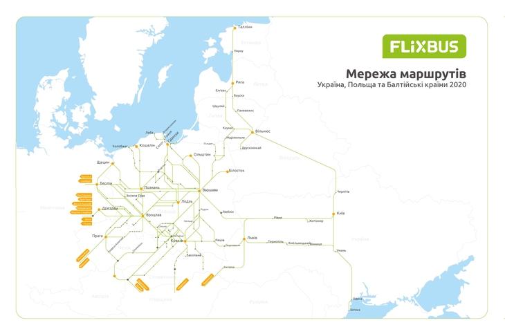 Карта маршрутов Flixbus из Киева