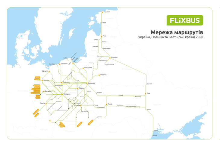 Карта линий Flixbus
