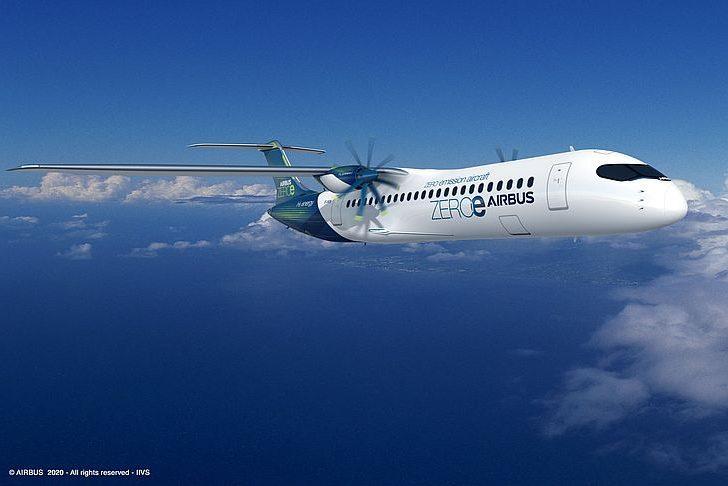 Самолет ZEROe с турбовинтовым двигателем